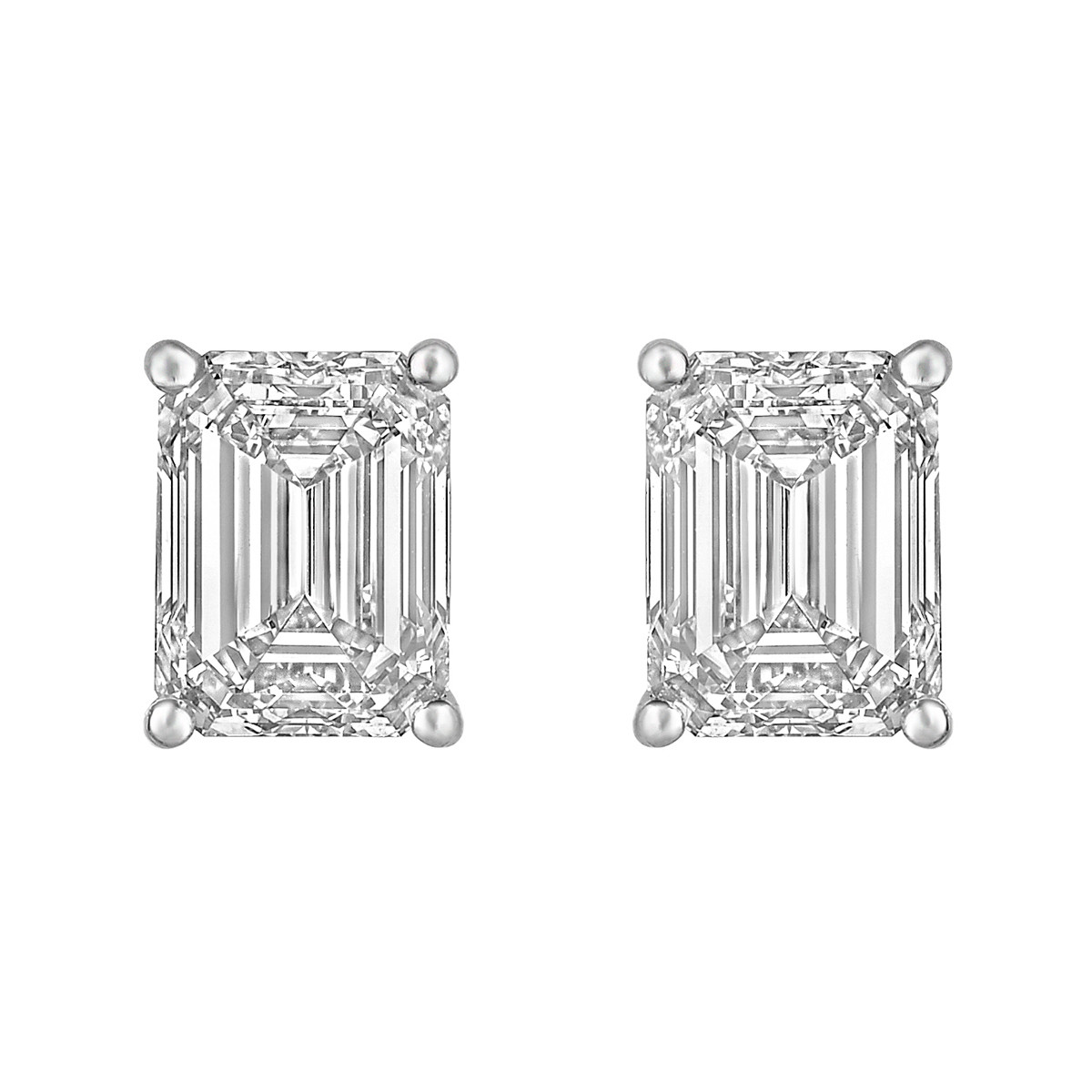 Emerald-Cut Diamond Stud Earrings (6 ct tw)