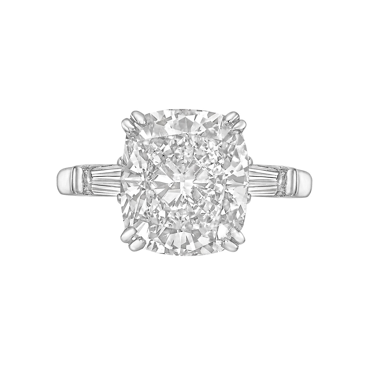6.01ct Fine Colorless Cushion-Cut Diamond Ring