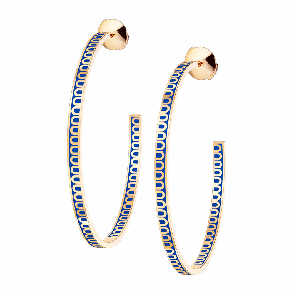 "18k Yellow Gold & Riviera Blue Lacquer Large ""L'Arc"" Hoops"