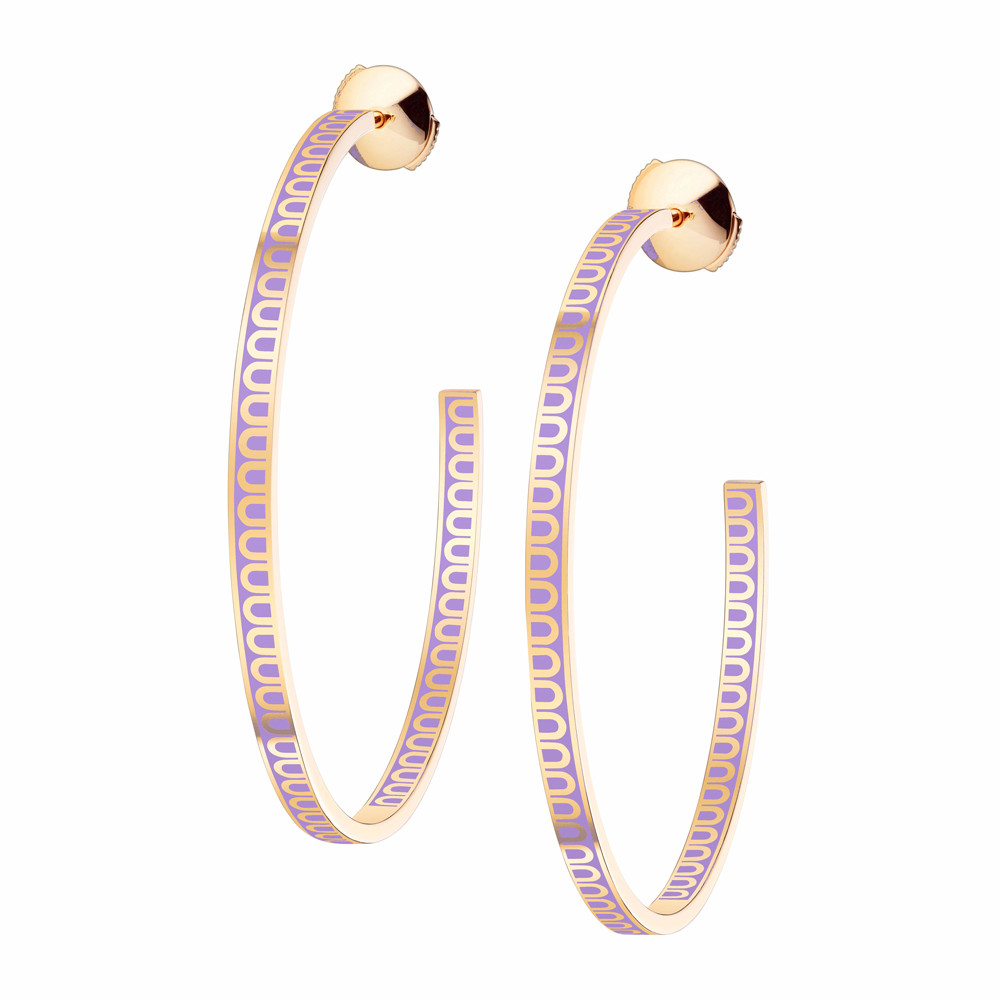 "18k Yellow Gold & Lavande Lavender Lacquer Large ""L'Arc"" Hoops"