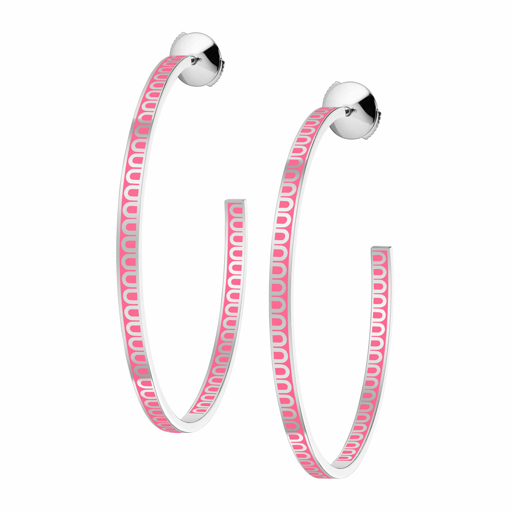 """18k White Gold & May Rose Lacquer Large """"L'Arc"""" Hoops"""