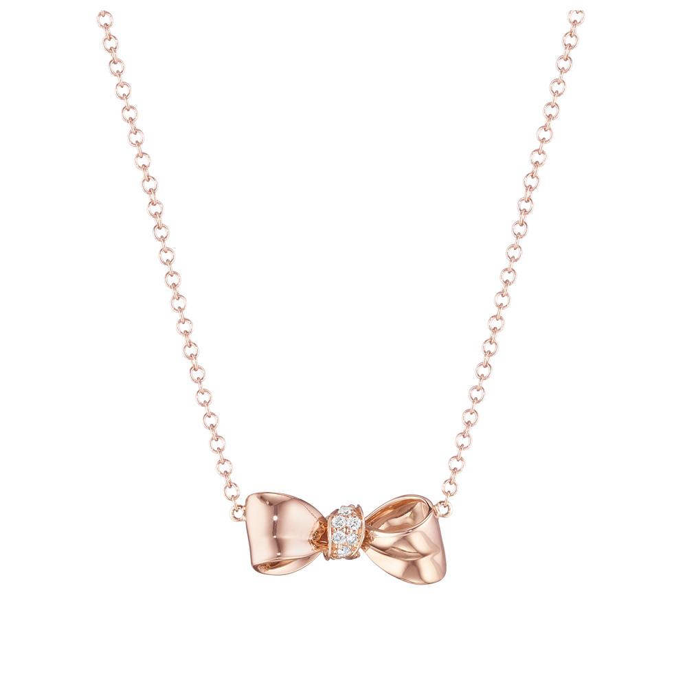 Mini 18k Rose Gold & Diamond Bow Pendant Necklace