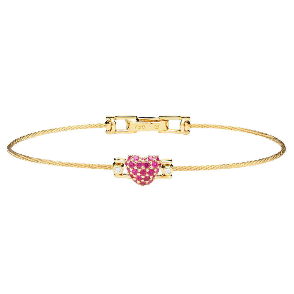 "18k Yellow Gold, Ruby & Diamond ""Unity""  Heart Bracelet"