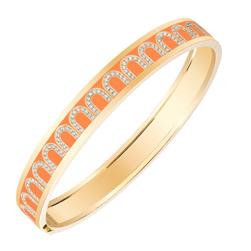 "18k Yellow Gold, Diamond & Zeste Orange Lacquer ""L'Arc"" Bangle"