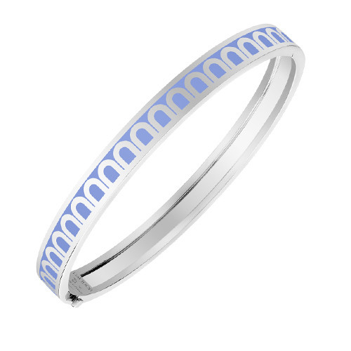 "18k White Gold & Light Blue Lacquer ""L'Arc"" Thin Bangle Bracelet"