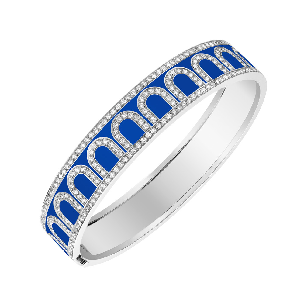 "18k White Gold, Diamond, & Riviera Blue Lacquer ""L'Arc"" Bangle"
