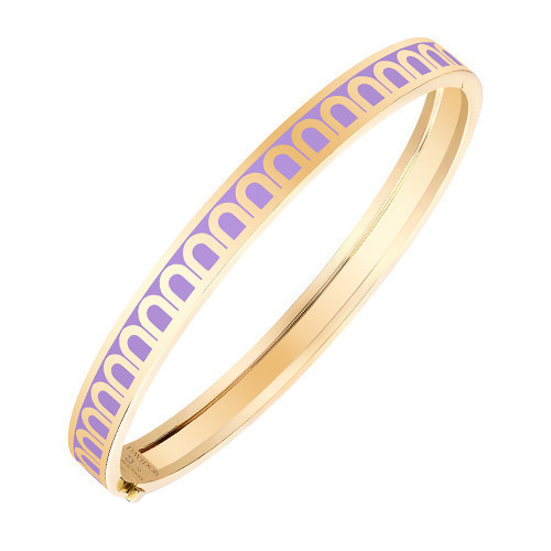 "18k Yellow Gold & Lavender Lacquer ""L'Arc"" Thin Bangle"