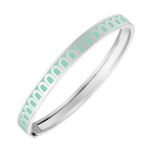 "18k White Gold & Mint Green Lacquer ""L'Arc"" Thin Bangle"