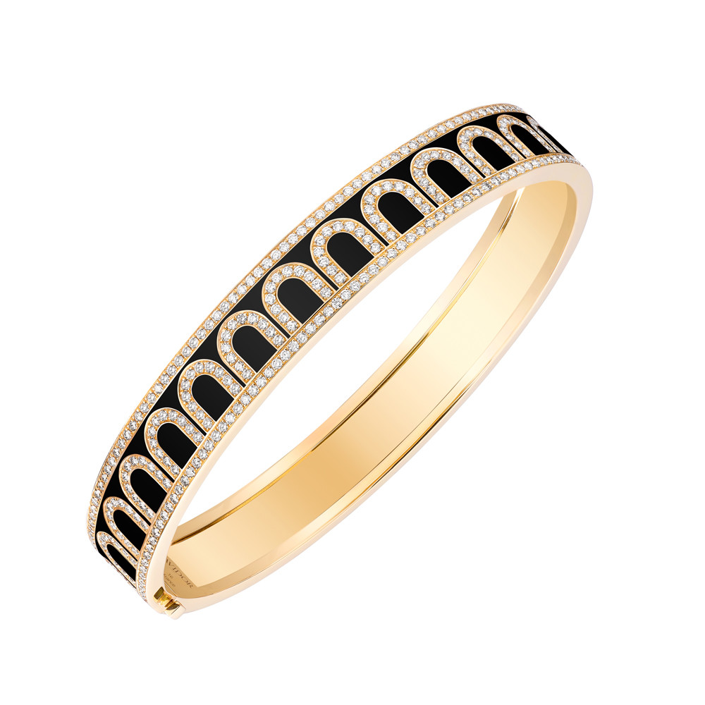 "18k Yellow Gold, Diamond & Caviar Lacquer ""L'Arc"" Bangle"