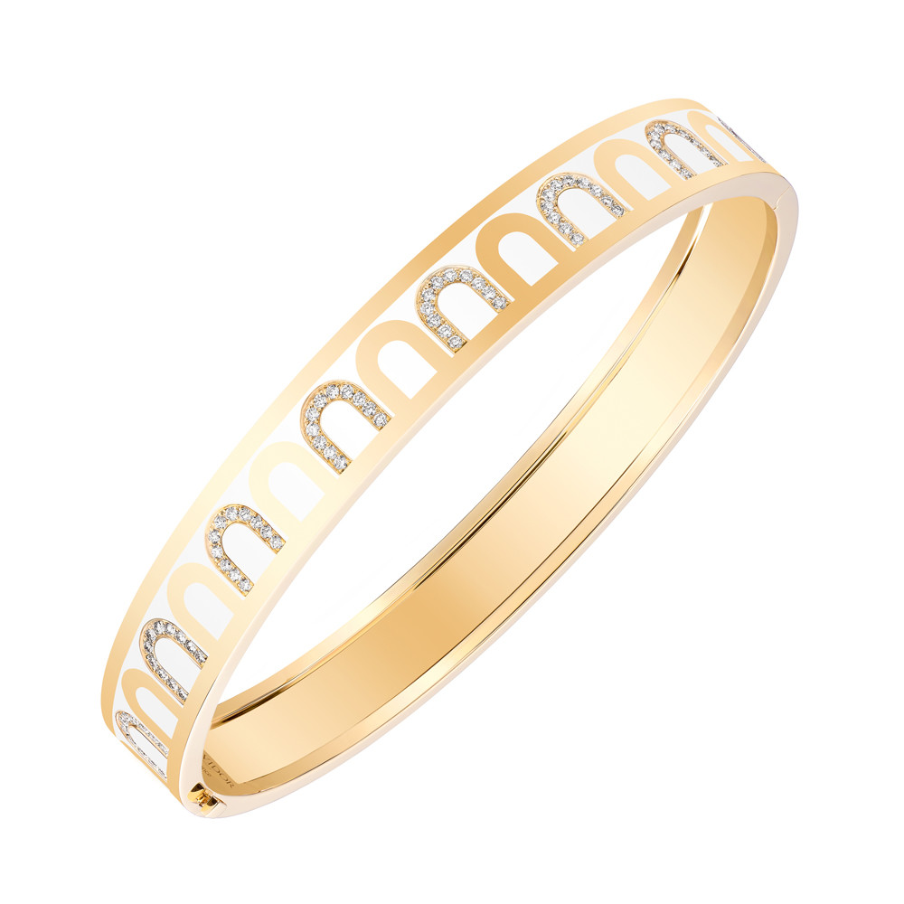 "18k Yellow Gold, Diamond & Neige White Lacquer ""L'Arc"" Bangle"