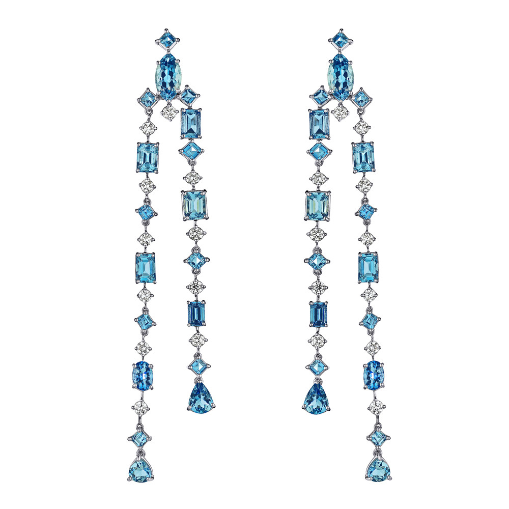 Aquamarine & Diamond Waterfall Earrings