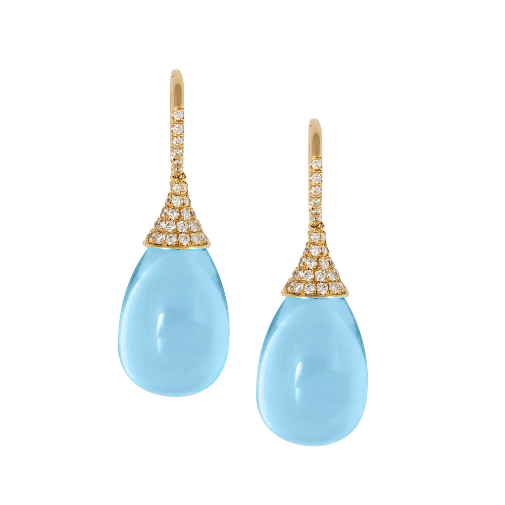 Bue Topaz & Diamond Frenchwire Drop Earrings