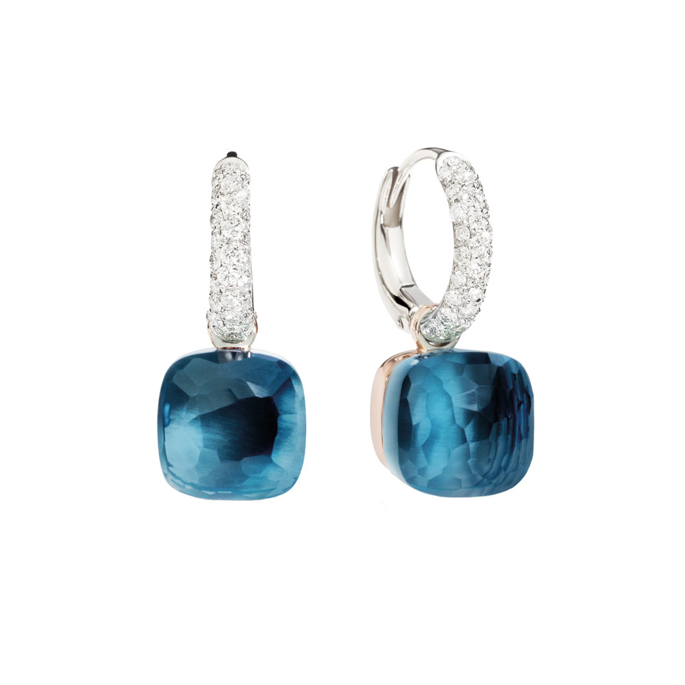 "London Blue Topaz & Diamond ""Nudo"" Earrings"
