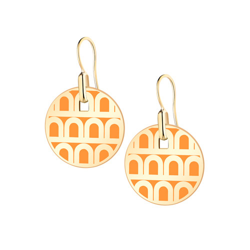 "Small 18k Yellow Gold & Zeste Orange Lacquer ""L'Arc"" Pendant Earrings"
