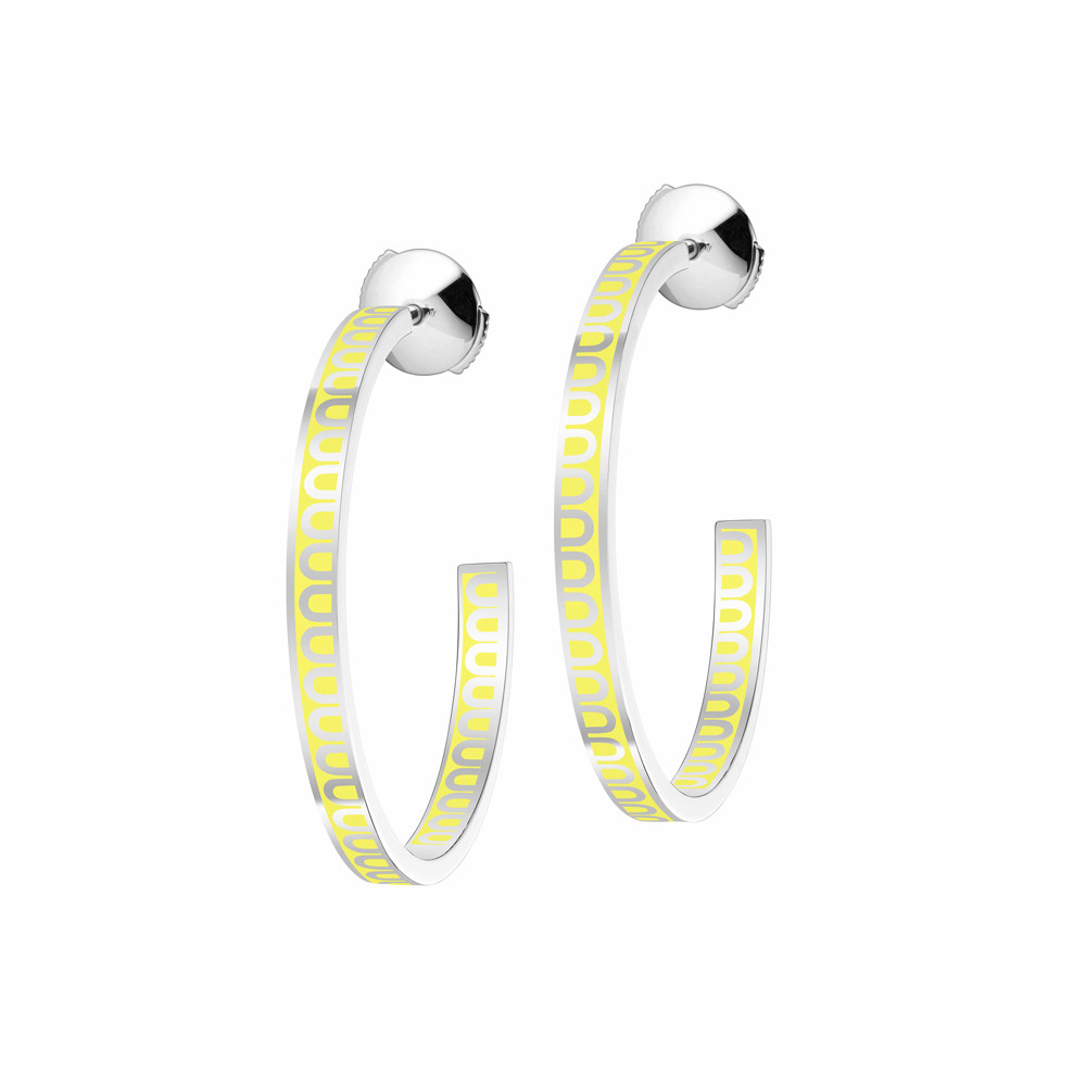"18k White Gold & Limoncello Lacquer ""L'Arc"" Medium Hoops"