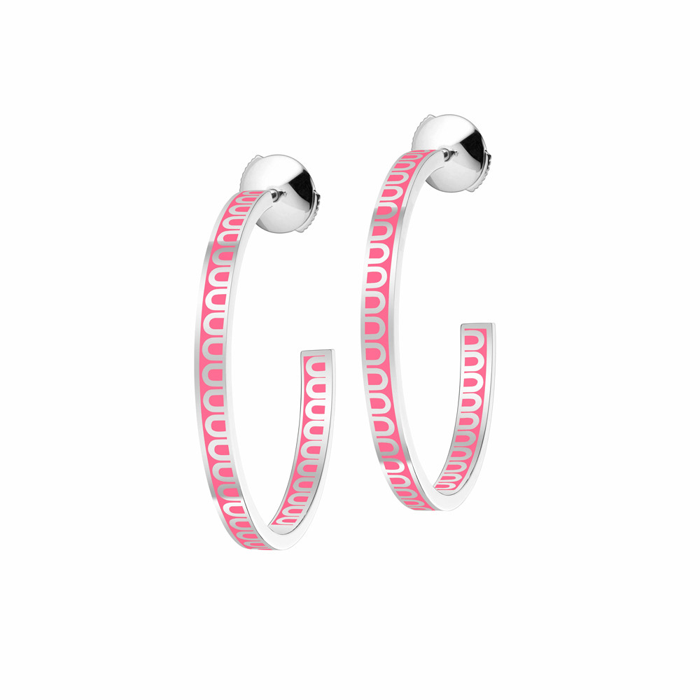 "18k White Gold & May Rose Lacquer ""L'Arc"" Medium Hoops"