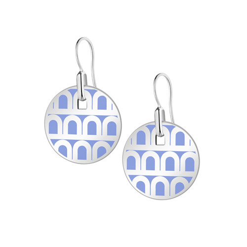 "Small 18k White Gold & Light Blue Lacquer ""L'Arc"" Pendant Earrings"