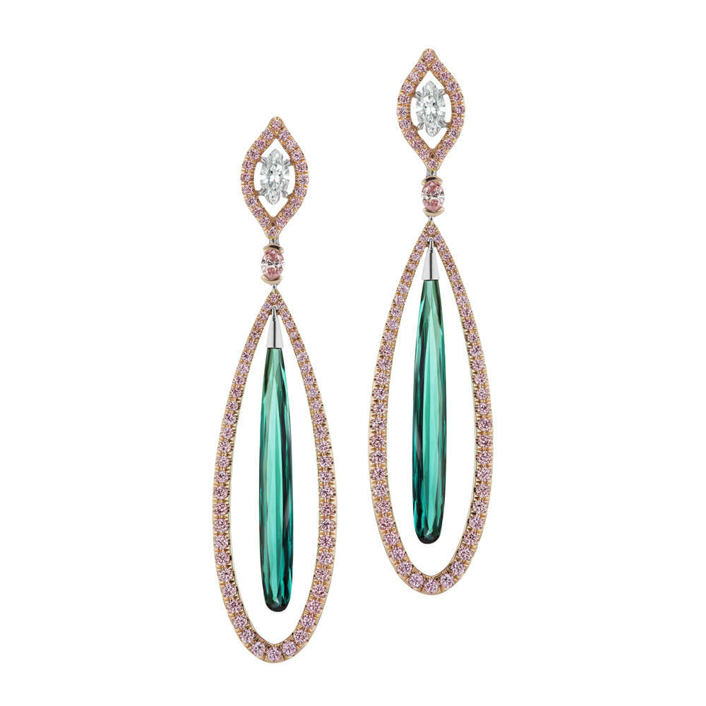 Pink Diamond & Green Tourmaline Drop Earrings