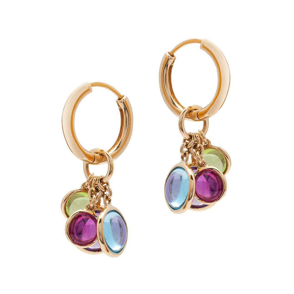 Multicolored Gemstone Charm Hoop Earrings