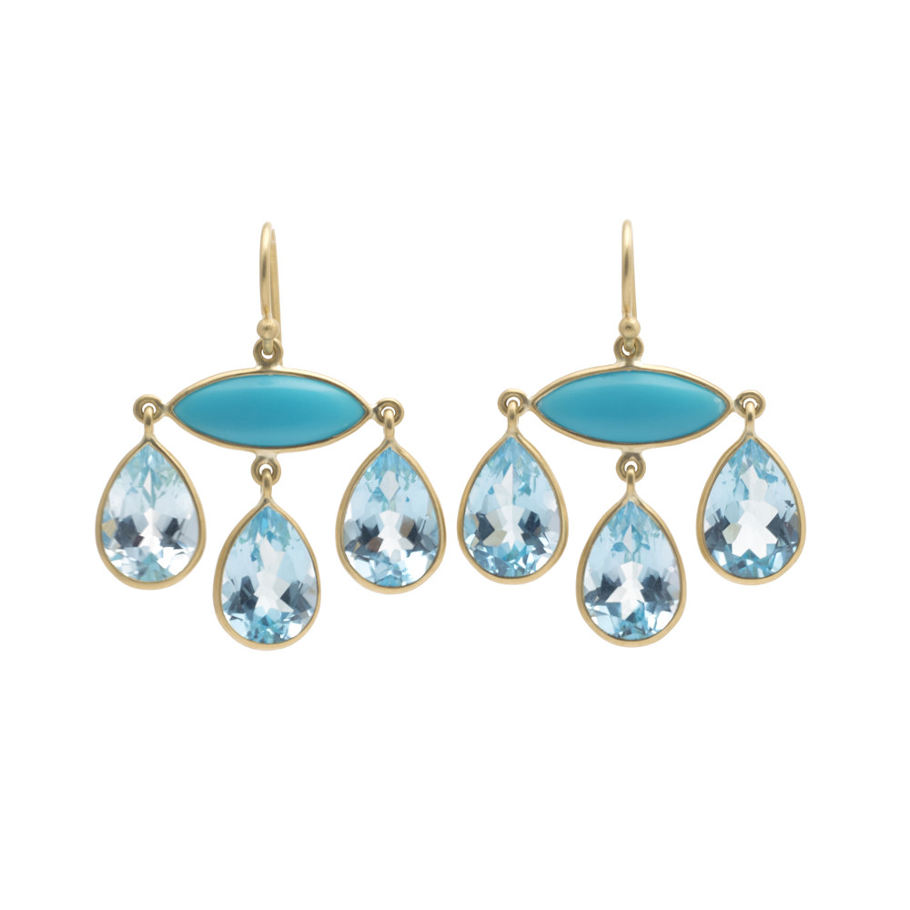 Turquoise & Blue Topaz Chandelier Earrings