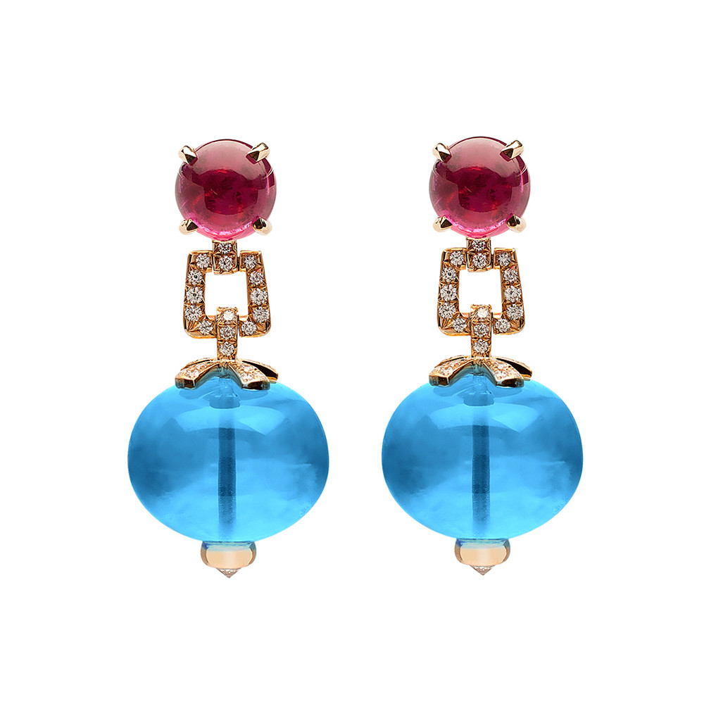 Blue Topaz & Rubellite Drop Earrings