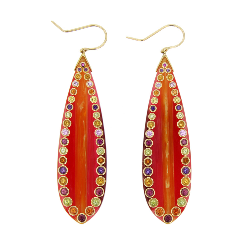 Multicolored Bakelite Earrings with Gemstones