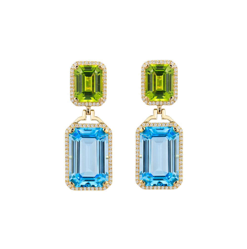 Blue Topaz, Peridot, & Diamond Drop Earrings