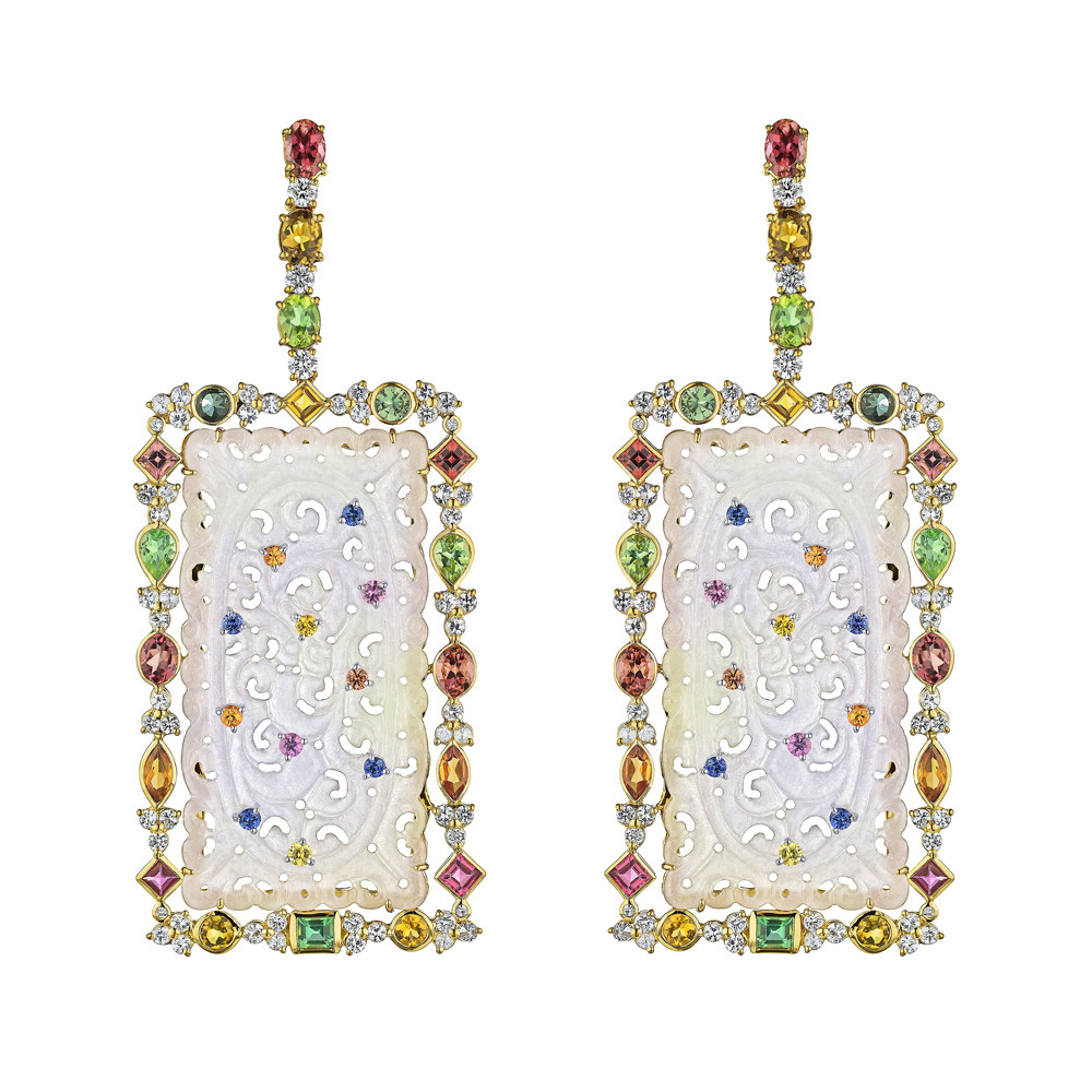 Carved Lavender Jade & Multicolor Gemstone Drop Earrings