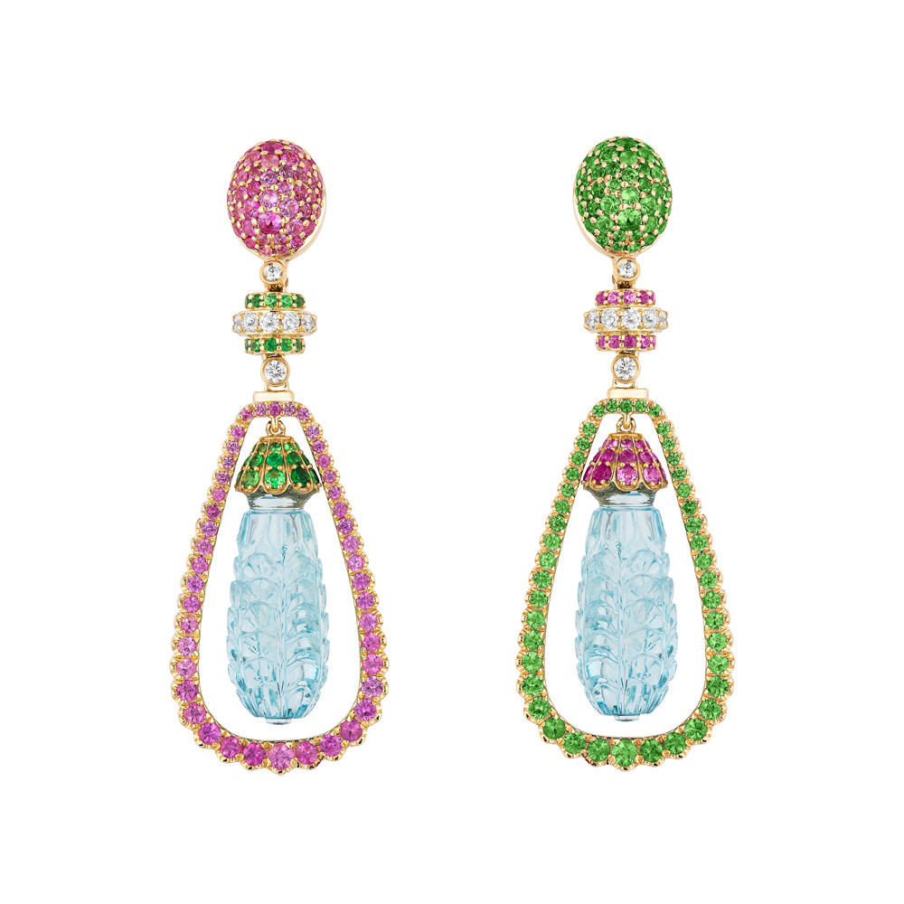 """G-One"" Pink Sapphire, Tsavorite, Diamond, & Carved Aquamarine Drop Earrings"