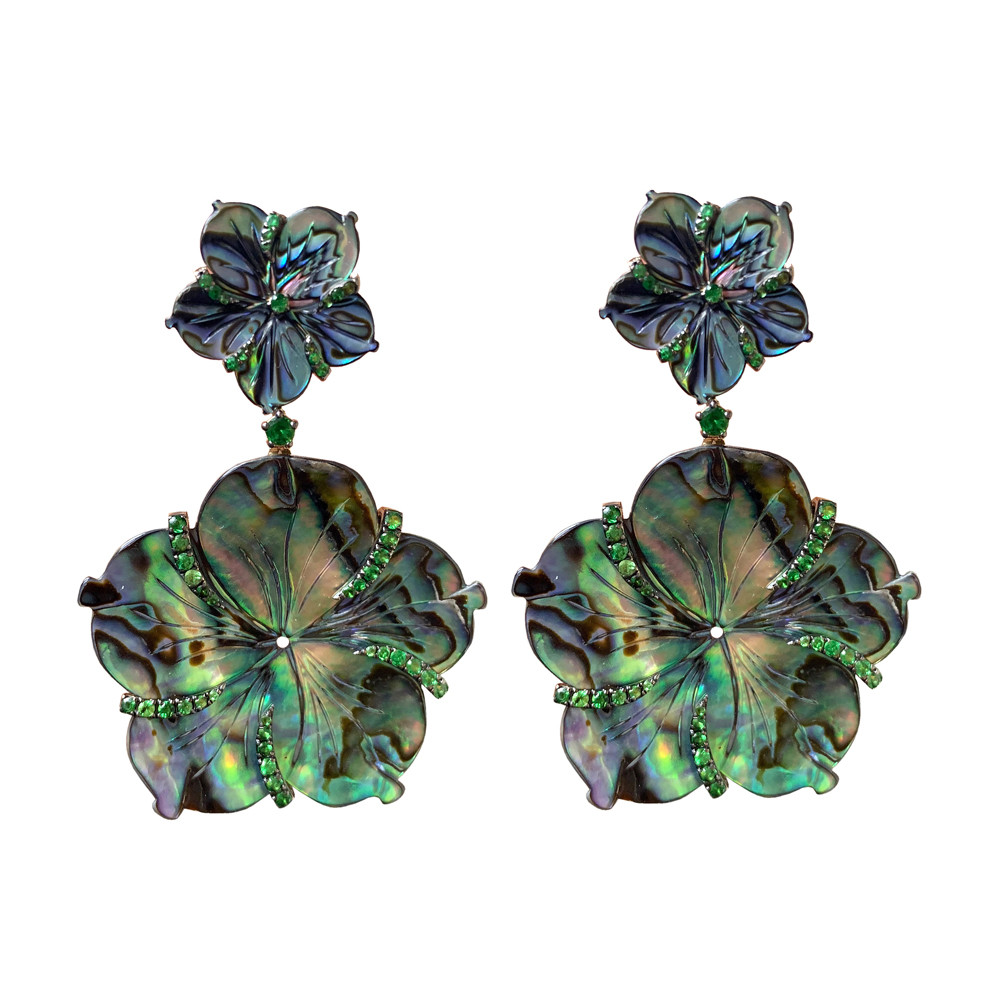 Mother-of-Pearl & Tsavorite Garnet Drop Earrings