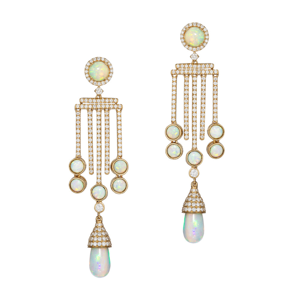 "Opal & Diamond ""G-One"" Chandelier Earrings"