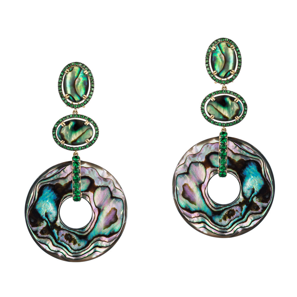 Abalone, Mother-of-Pearl, & Tsavorite Garnet Drop Earrings
