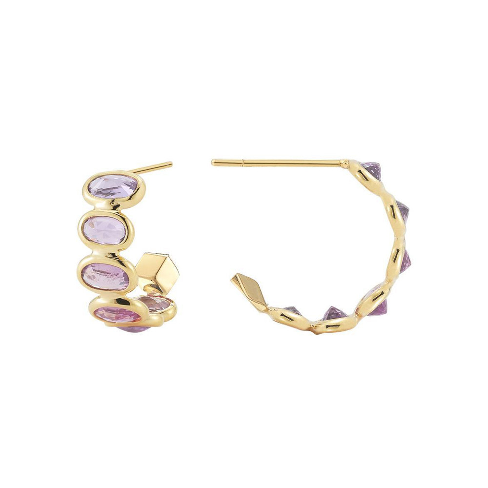 "Small Pink Sapphire ""Ombre"" Hoop Earrings"