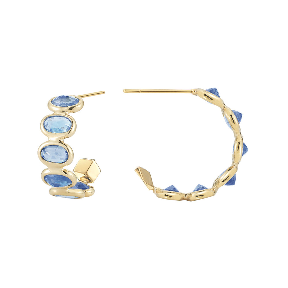 "Small Blue Sapphire ""Ombre"" Hoop Earrings"
