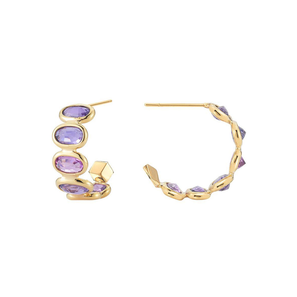 "Small Purple Sapphire ""Ombre"" Hoop Earrings"