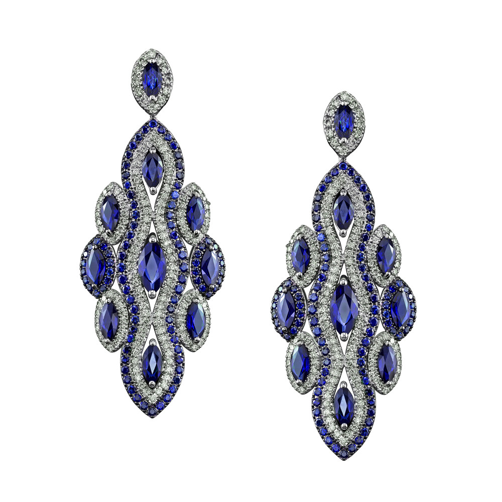 "Blue Sapphire & Diamond ""Bella Linda"" Earrings"