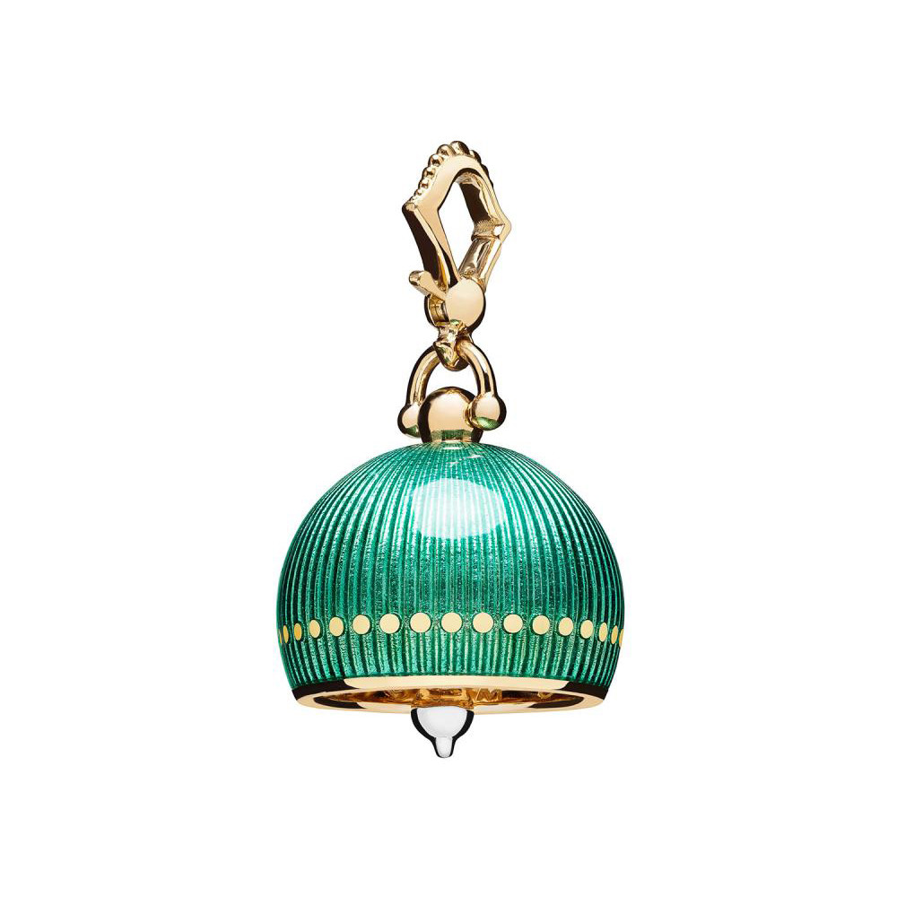 Medium 18k Yellow Gold & Green Enamel Meditation Bell