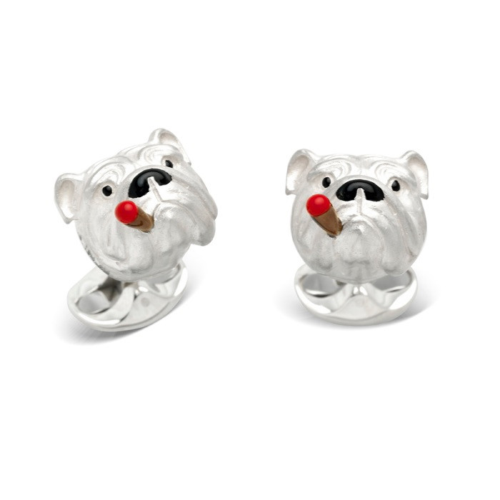 Silver Smoking Bulldog Cufflinks