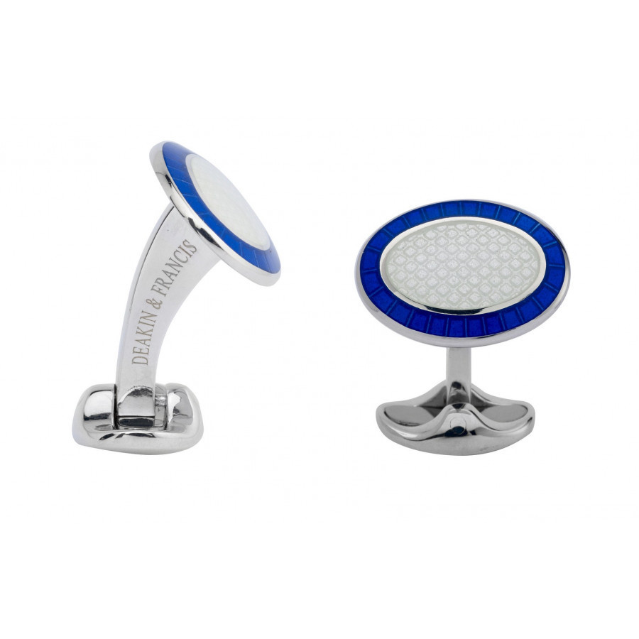 Silver Royal Blue & White Patterned Enamel Cufflinks