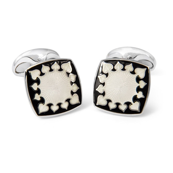 Black & White Enamel Patterned Cufflinks