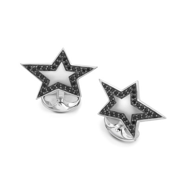 Silver & Black Spinel Star Cufflinks
