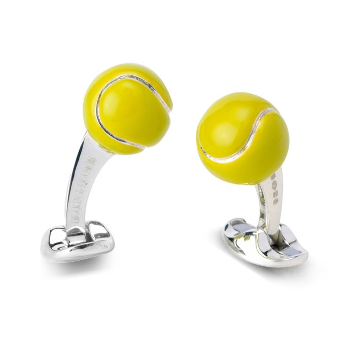 Silver & Enamel Tennis Ball Cufflinks
