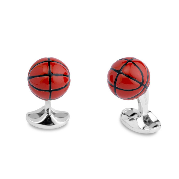 Silver & Enamel Basketball Cufflinks
