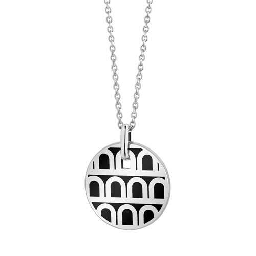 "18k White Gold & Black Lacquer ""L'Arc"" Small Pendant"