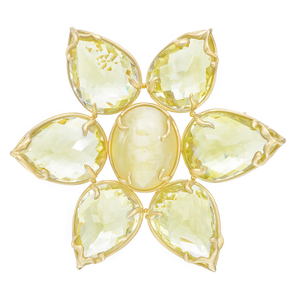 Honey Opal & Lemon Citrine Flower Brooch