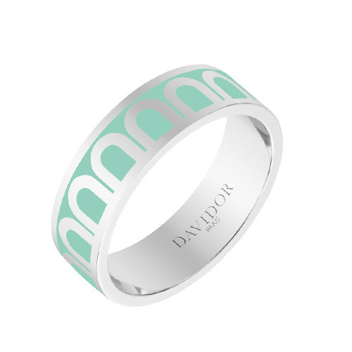 "Medium 18k White Gold & Mint Green Lacquer ""L'Arc"" Band Ring"