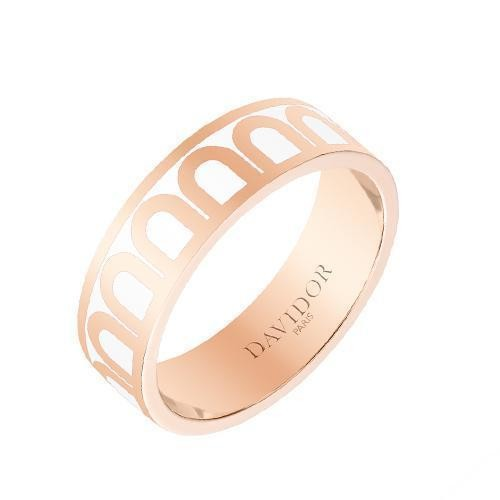 "Medium 18k Rose Gold & White Lacquer ""L'Arc"" Band Ring"