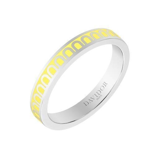 "18k White Gold & Limoncello Yellow Lacquer ""L'Arc"" Thin Band"