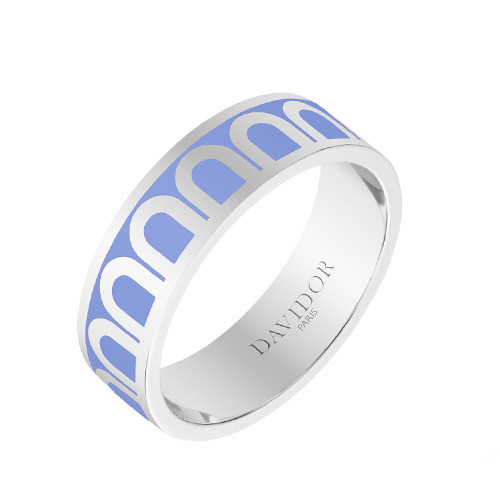 "Medium 18k White Gold & Light Blue Lacquer ""L'Arc"" Band Ring"