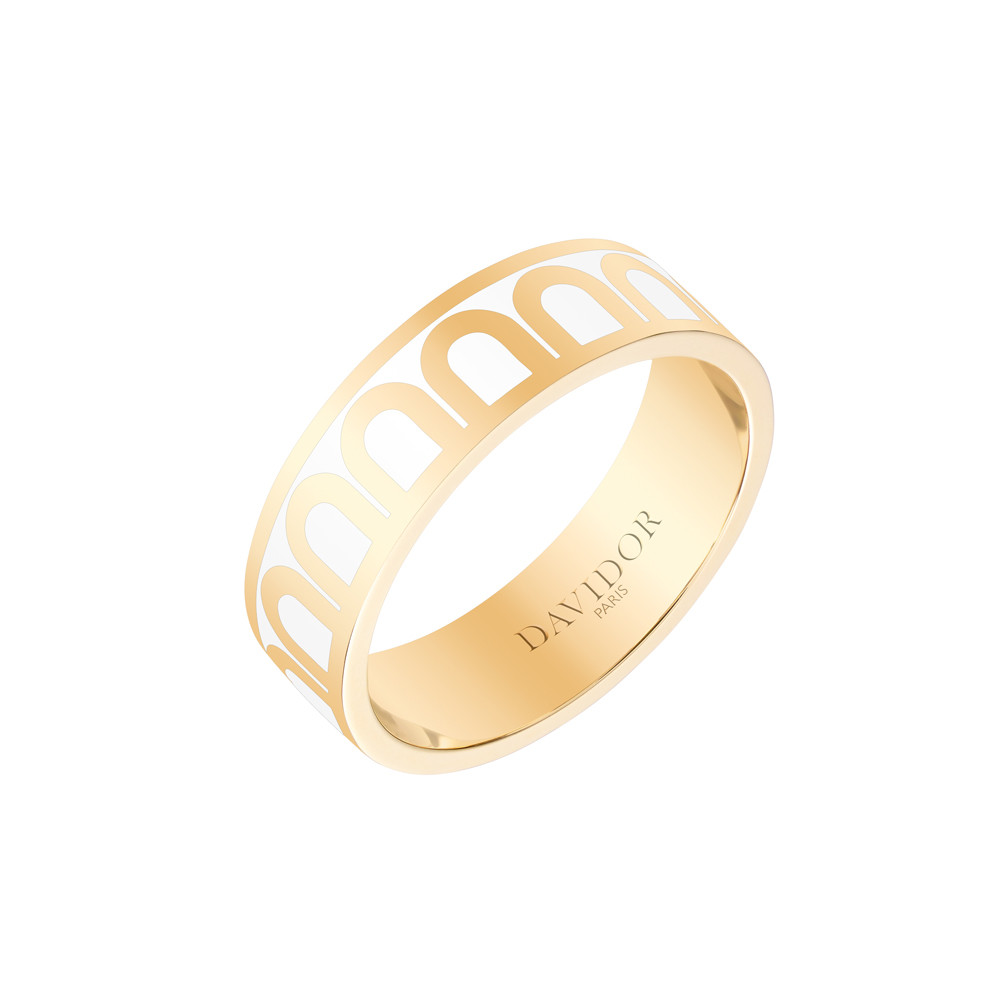 "18k Yellow Gold & Neige Lacquer ""L'Arc"" Medium Band"